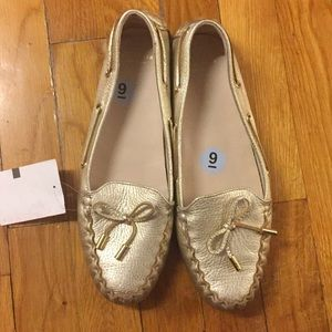 NWT Cole Haan Gold Leather Cary Loafers Flats US9
